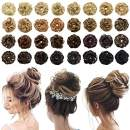LYRICAL HAIR Wavy Curly Messy Rose Bun Hair Piece Thick Updo Scrunchie Fake Natural Look Extensions Hairpiece All Colors Quality Wrap Around Ponytail Hair Accessories for Women Ladies Girls (10#)
