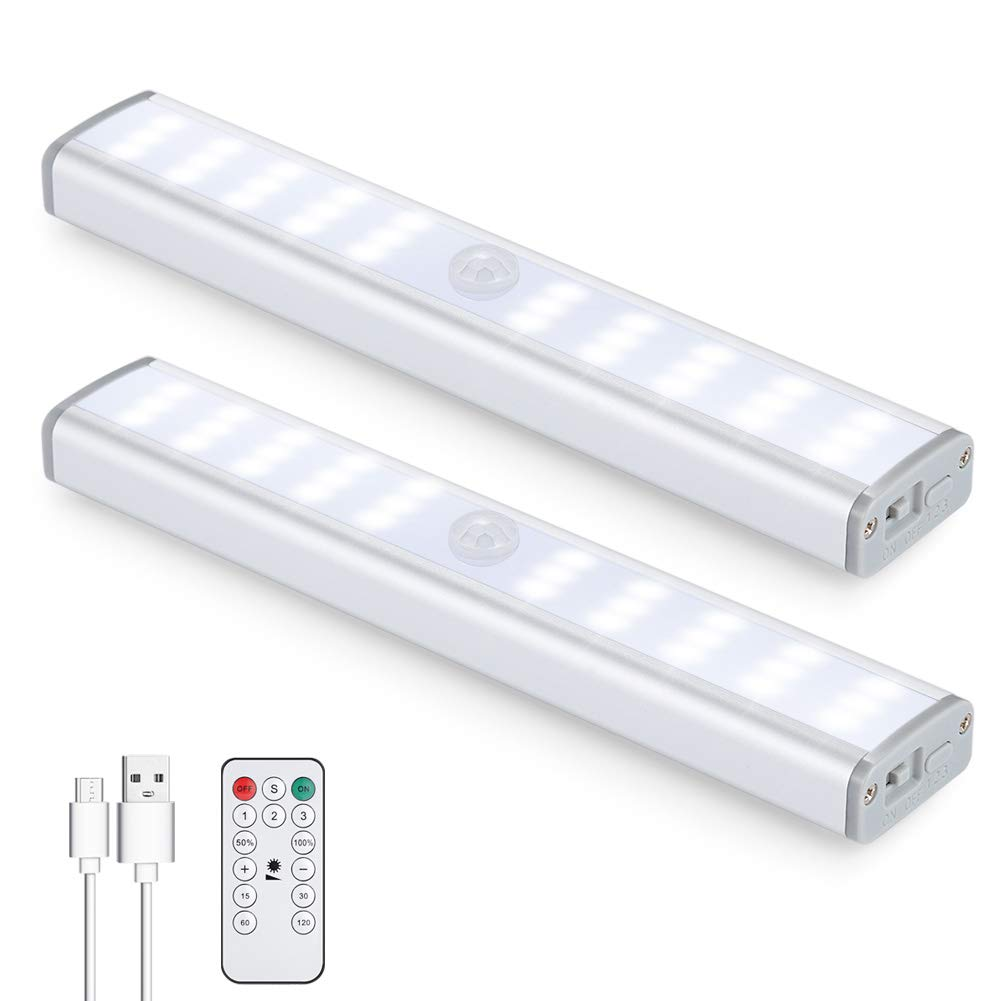 30LED Motion Sensor Closet Light Rechargeable, Wireless Under Cabinet Lighting with Remote, 350lm,Stick-on Portable Under Counter Shelf Magnetic Light Bar for Kitchen, Wardrobe (2Packs)