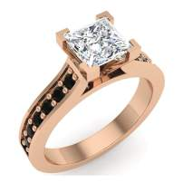 Princess cut Diamond Engagement rings Black diamond rings Gift ring box Authenticity cards 1.00 carat t.w. (I, I1)