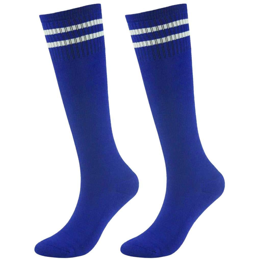 saillsen Kids' Soccer Socks, Boys' Girls' Sports Striped Cushion Tube Socks, 2 Pairs