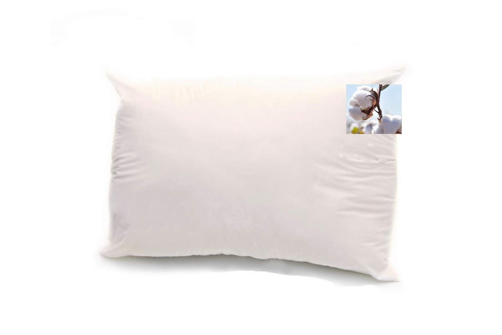 100% Organic Cotton Filled Pillow (Queen Size, Heavy Fill) with 100% Organic Cotton Cover, Zippered Adjustable Pillow for Desired Height, Breathable and Cooling, Eco-Friendly