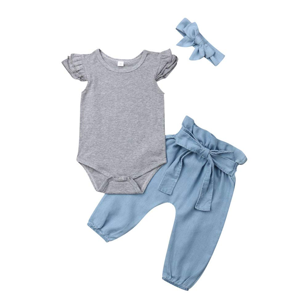 3PCS Outfits Baby Girls Ruffle Romper Bodysuit Tops Denim Jeans High Waist Pants Floral Halen Pants
