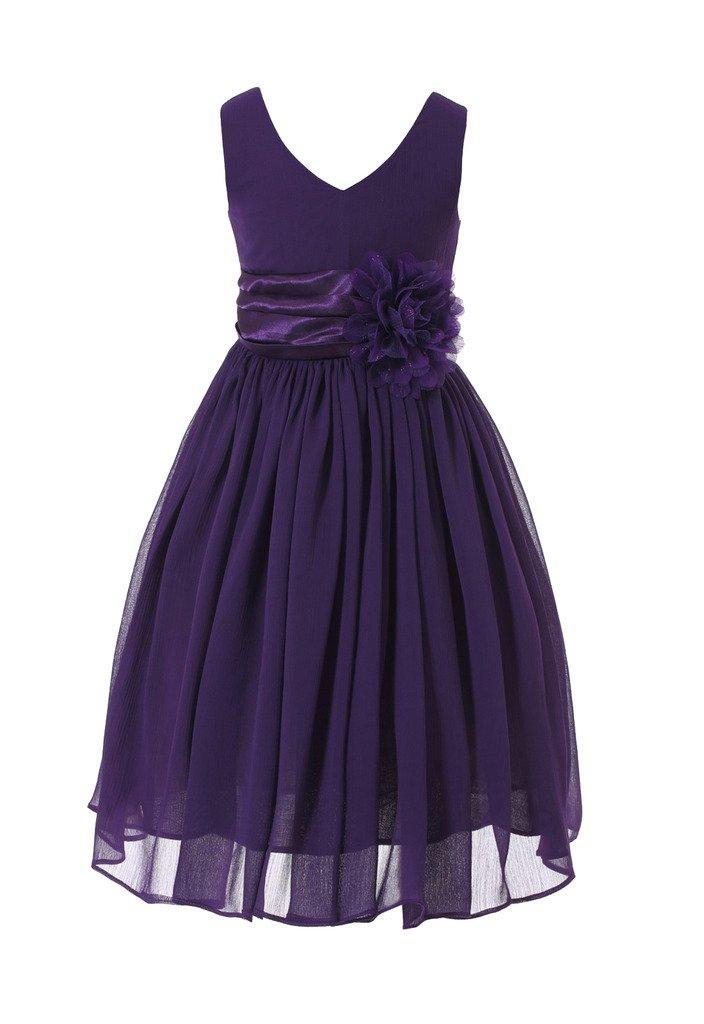 Bow Dream Flower Girl Dress Junior Bridesmaids V-Neckline Chiffon Purple 12