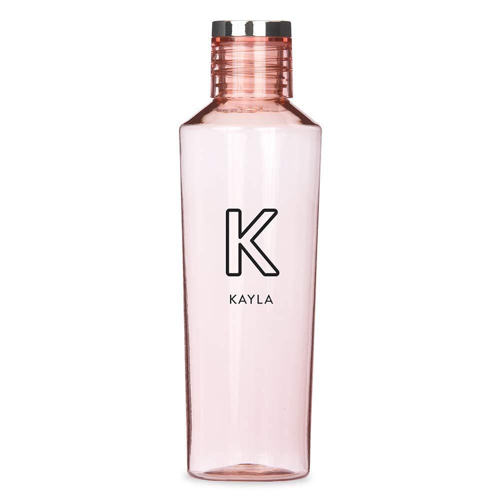 Weddingstar Personalized Tritan Plastic Water Bottle 27oz – Reusable Customizable Eco-Friendly Plastic Water Bottle – 100% BPA-Free Environmentally Friendly Canteen - Line Initial Light Pink