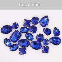 Sew on Rhinestones with Claws, Blue Rhinestones Mixed Shapes Glass Rhinestones for Crafts, Costume, Shoes, Jewelry Making, Rings, Bracelets, Earrings, Necklaces, Belt(20 pcs)
