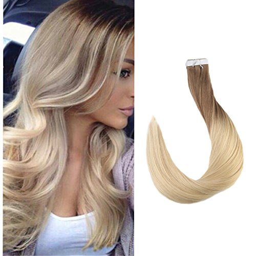 Full Shine Invisible Tape In Hair Extensions 16 Inch Brazilian Human Hair Ombre Color 6 To 613 Bleach Blonde Ombre Skin Weft Human Hair Extensions 20 Pcs Blonde Remy Extension Tape Ins 50 Grams