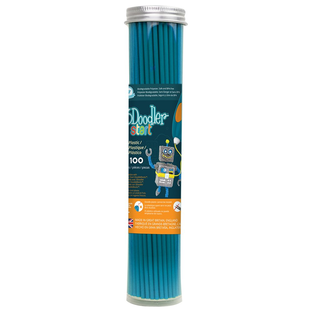 3Doodler Start 3D Printing Filament Refill Tube (X100 Strands, Over 830'. of Extruded Plastic!) - Terrific Teal, Compatible with Start 3D Pen for Kids