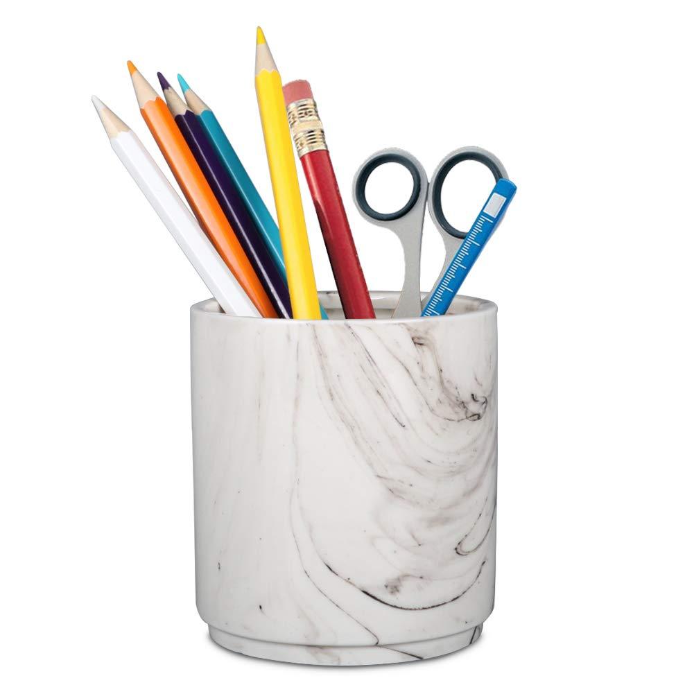 Teagas Retro Desk Pencil and Pen Holder Ceramic Glaze Pen Cup Makeup Brush Holder Creative Desk Organizer Monochromatic Colour