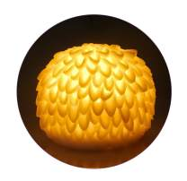 Dahlia Night Lights w Timer for Your Daughters, White Finish, Yellow Glow Lamp for Bedroom, Nightstand Shelf Decoration, Battery Operated