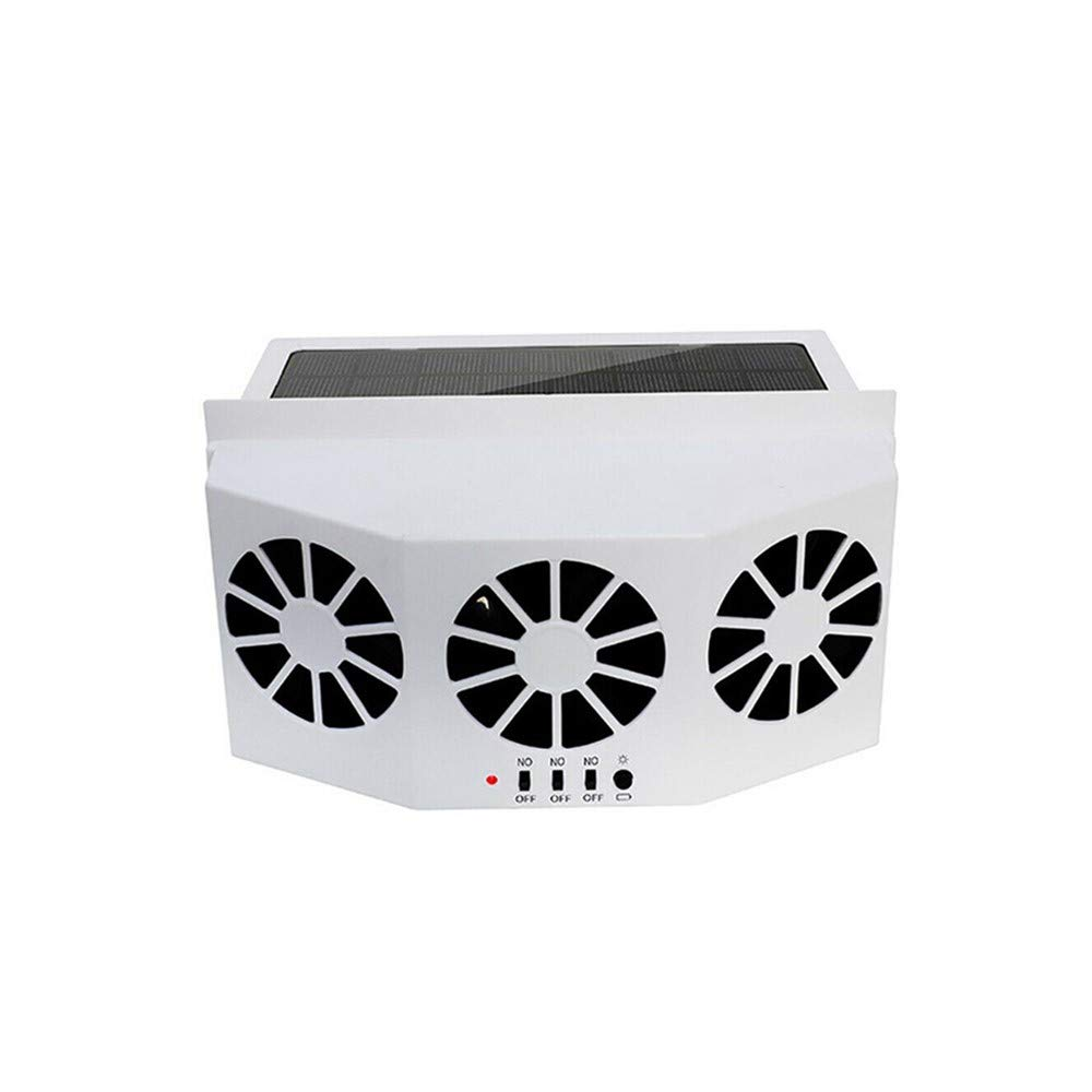 DIYARTS Solar Car Exhaust Fan Portable Foldable 3 Ducts 3 Motors Heat Exhaust Cooling Vent Energy Saving Solar Power Air Exhaust Fan with Built-in Battery 2 Colors Optional (White)