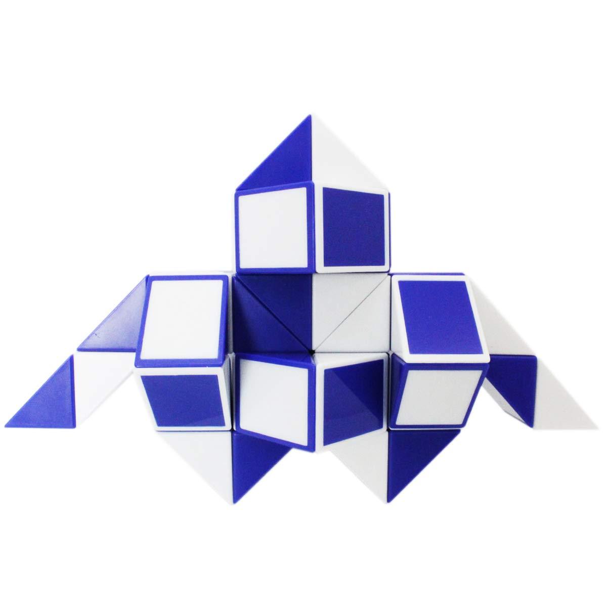 Mipartebo Magic Snake Cube Twist Puzzle 48 Wedges Brain Teaser Fidget Sensory Toys Big Size Party Favors for Kids Blue