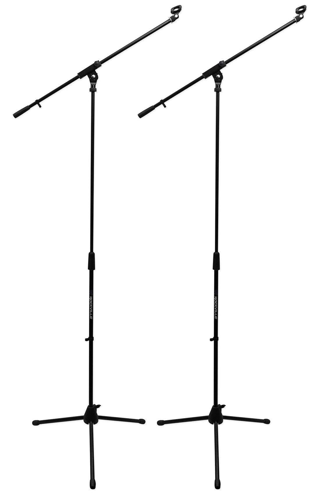 (2) Rockville RVMIC1 Dual Boom Microphone Stands w/ Tripod Base