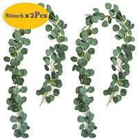 Jinhot 2Pcs Artificial Eucalyptus Garland Eucalyptus Leaves Vines Best Decoration for Wedding, Home,Outdoors, Party,Garden,Window (Spring Green, 2)