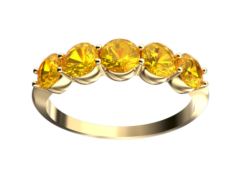Finejewelers 10 kt Yellow Gold 4mm 5 Stone Band Ring