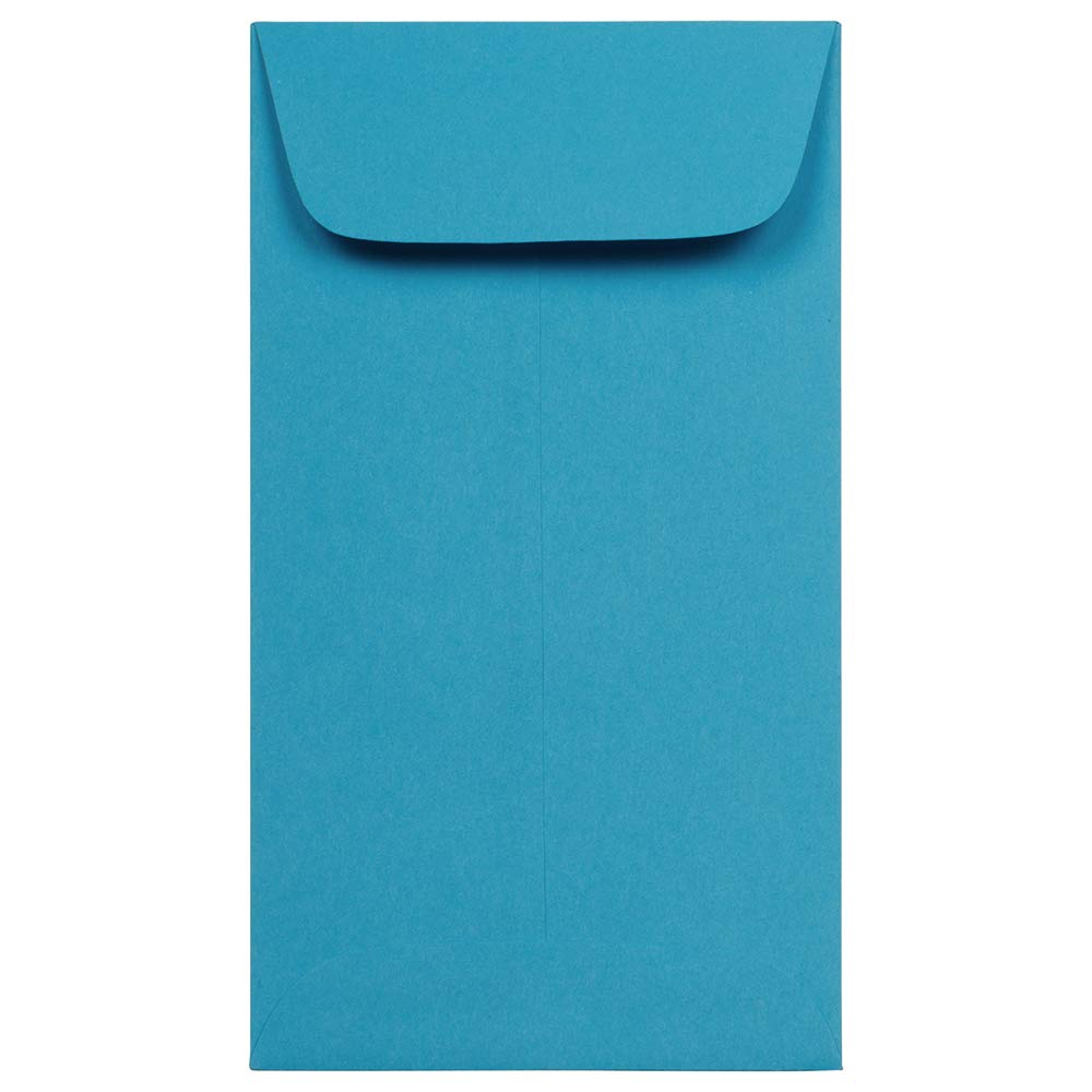 JAM PAPER #6 Coin Business Colored Envelopes - 3 3/8 x 6 - Blue Recycled - 100/Pack