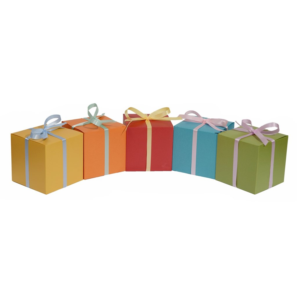 30ct Treat Favor Boxes 4x4x4 - Vintage European Pearlescent Paper in Assorted Colored for Wrapping Gifts Party Birthday Wedding Baby Shower Craft (Gold Red Blue Green Orange)