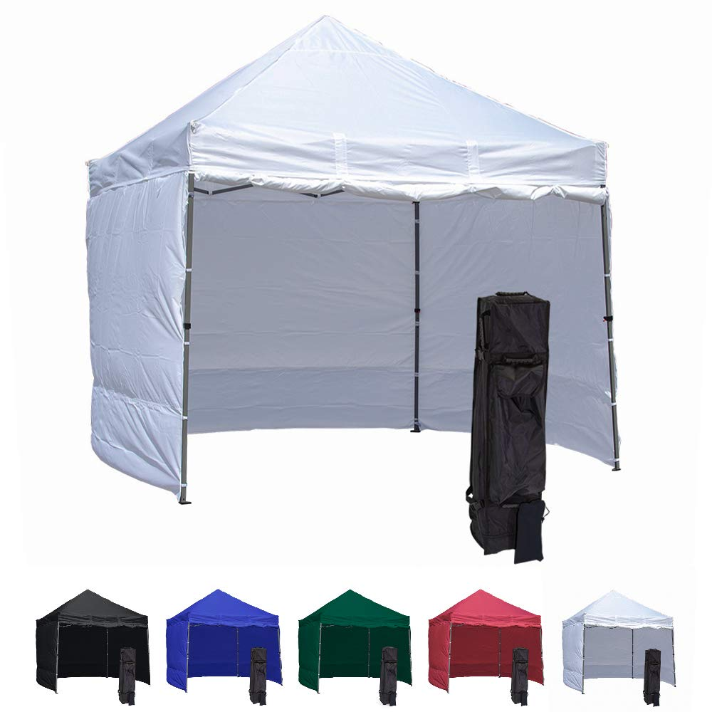 Vispronet 10x10 Pop Up Canopy Tent With 4 Side Walls – Compact Edition – Durable Aluminum Tent Frame, Water-Resistant Canopy and Sidewalls, Premium Stake Kit and Heavy-Duty Wheeled Storage Bag (White)