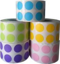 """1/2"""" Color Coding Dot Stickers Spring Collection 1,000 of Each of 5 Different Colors 5,000 Total Colored Labels"""