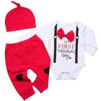 Seyouag Valentine's Day Outfit Baby Boy Gentleman My First Valentine's Day Long Sleeve Romper and Heart Pants Clothes Set