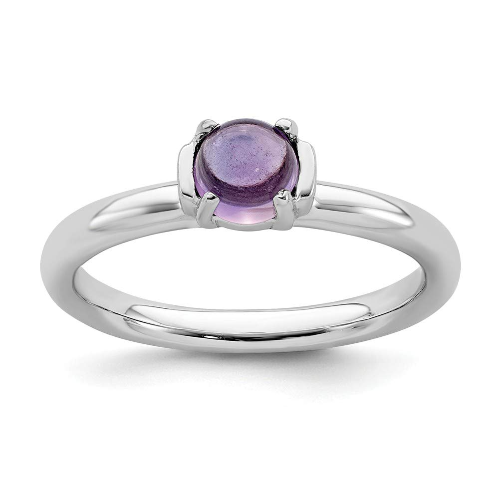 925 Sterling Silver Purple Amethyst Band Ring Stone Stackable Gemstone Birthstone February Fine Mothers Day Jewelry For Women Gifts For Her