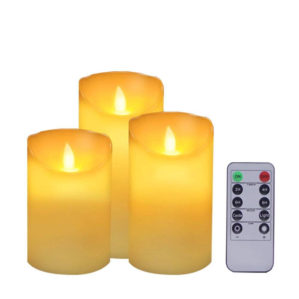 """ACROSS Flickering Flameless Candles Battery Operated Candles, Set of 3(H4""""5""""6""""xD3.1"""") Real Wax Realistic Dancing Wick Led Pillar Candles with Remote Timer for Outdoor Christmas Wedding Party"""