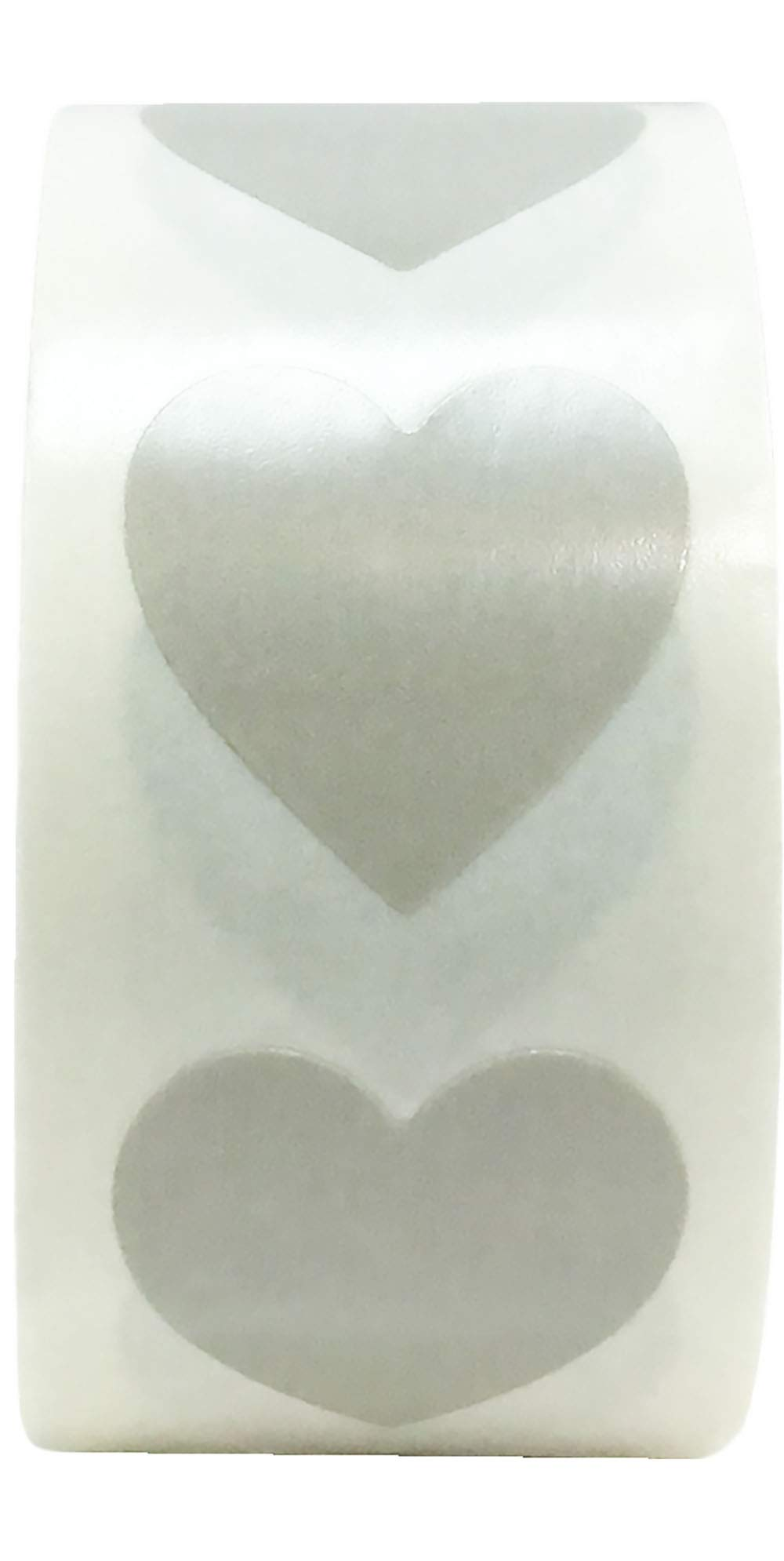 Grey Heart Stickers Valentine's Day Crafting Scrapbooking 0.75 Inch 500 Adhesive Stickers
