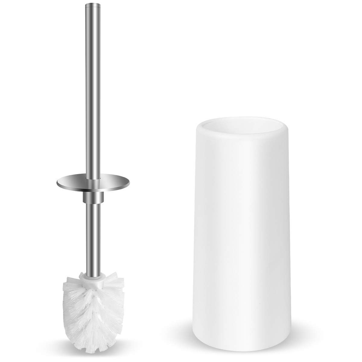 Vsadey Toilet Brush and Holder, Stainless Steel Long Handle Toilet Bowl Cleaner Brush with Durable Bristles and Enlarged Bottom Bathroom Accessories for Bathroom Toilet