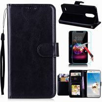 LG Aristo 3/Tribute Empire/Aristo 2/Tribute Dynasty/Zone 4/Fortune 2/K8 2018/Risio 3 Case with Screen Protector, I VIKKLY Premium PU Leather with Kickstand and 5 Card Slot Flip Wallet Case (Black)