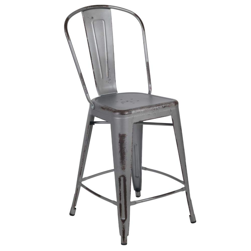 Flash Furniture 4 Pk. 24'' High Distressed Silver Gray Metal Indoor-Outdoor Counter Height Stool with Back