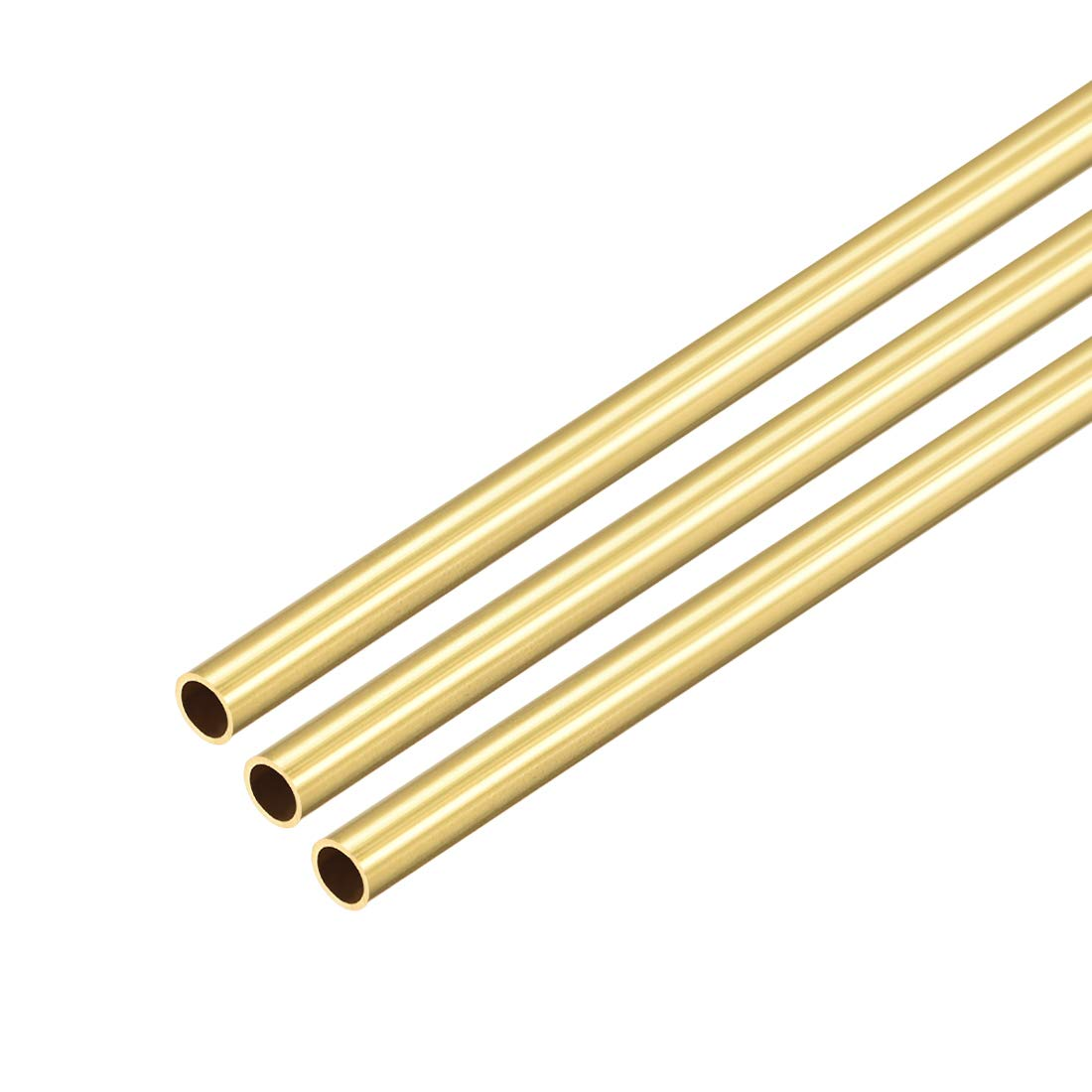 uxcell Brass Round Tube, 300mm Length 5mm OD 0.5mm Wall Thickness, Seamless Straight Pipe Tubing 3 Pcs