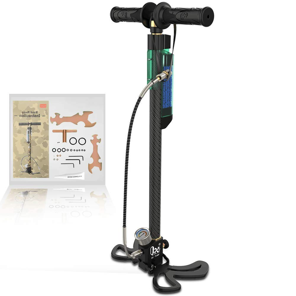 GX PCP Hand Pump -Oil-Moisture Filter, 3.5 Stage High Pressure 30Mpa/4500Psi Air Rifle Filling Stirrup Pump,Stainless Steel Body for Paintball,PCP,Scuba Diving