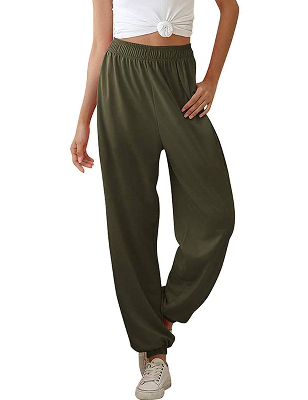 MEROKEETY Women's Active High Waisted Jogger Sweatpants Baggy Lounge Pants with Pockets