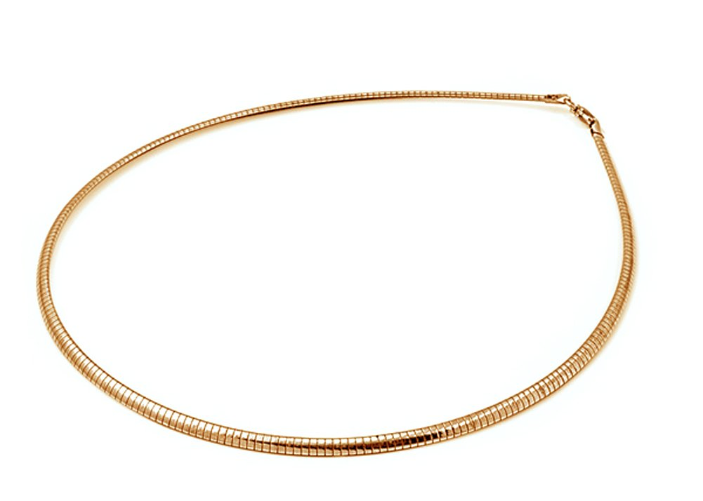 Sterling Silver Gold-Tone Reversible Omega Snake Chain 3mm Solid 925 Italy New Necklace