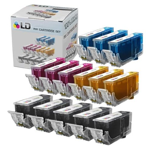 LD Compatible Ink Cartridge Replacement for Canon PGI5 & CLI8 (5 Pigment Black, 3 Cyan, 3 Magenta, 3 Yellow, 14-Pack)