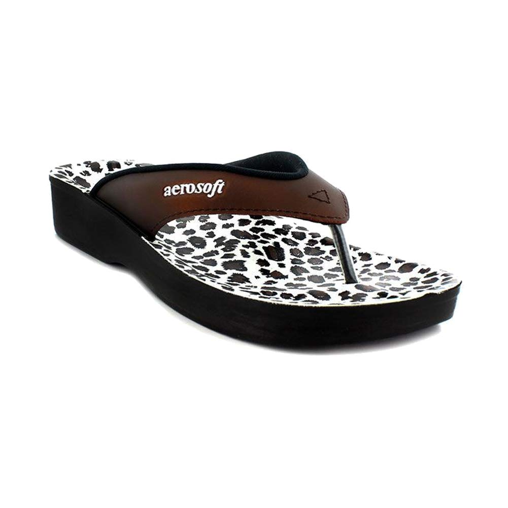 Aerosoft Flip Flops for Women, Arch Supportive Slides, Lightweight Waterproof Leopard Thong Sandals
