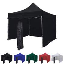 Vispronet 10x10 Instant Canopy Tent and 4 Side Walls – Commercial-Grade Aluminum Frame – Water Resistant Canopy Top and Sidewalls – Includes Canopy Bag and Stake Kit (Black)