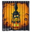Scary Cat on The Pumpkin Happy Halloween Decoration- Fashion Personalize Custom Bathroom Shower Curtain Waterproof Polyester Fabric 66(w) x72(h) Rings Included