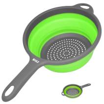 Collapsible Colander,Kitchen Strainer with Handles,Space-Saver Folding Silicone Strainers and Colanders,2 Quart Round Collander for Draining Pasta,Vegetable/Fruits,Dish washer-Safe,BPA Free (Green)