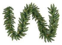 "Northlight 9' x 12"" Pre-Lit Buffalo Fir Artificial Christmas Garland - Warm White LED Lights"
