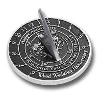 The Metal Foundry 5th Wood Wedding Anniversary 2019 Sundial Gift Idea is A Great Present for Him, for Her Or for A Couple to Celebrate 5 Years of Marriage