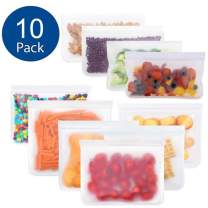 Reusable Food Storage Bags-10 Pack Leakproof Freezer Bag(4 Reusable Snack Bag + 6 Reusable Sandwich Bags)Extra Thick BPA Free Reusable Ziplock Lunch Bag for Food Storage Home Organization Eco-friendly