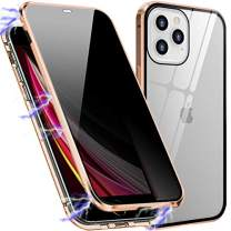 Magnetic Case Compatible with iPhone 12 / iPhone 12 Pro, Privacy Anti-Peeping Front and Back Tempered Glass Full Screen Coverage Magnet Metal Frame Anti-spy Case for Apple iPhone 12/12 Pro (Gold)