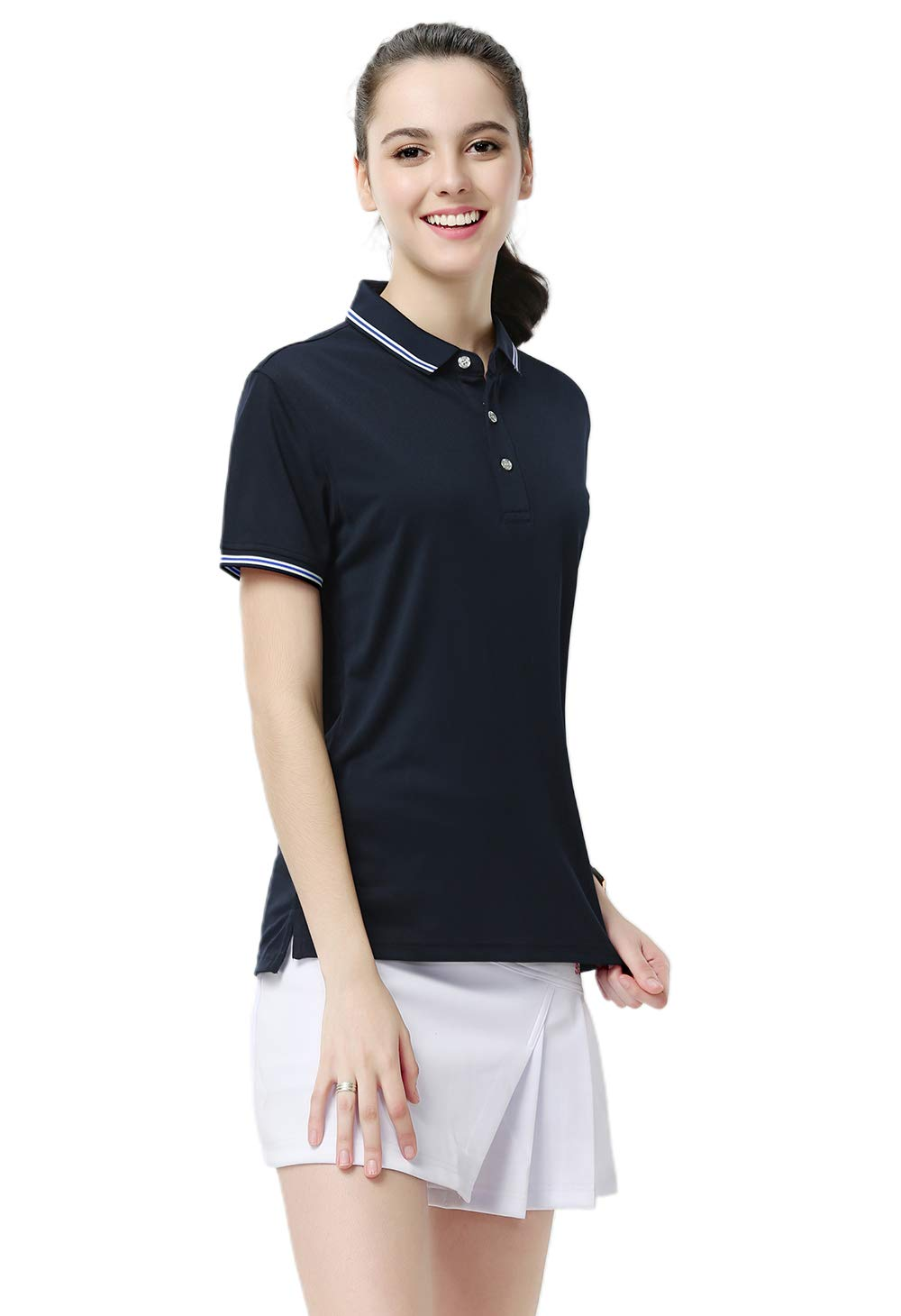 HTB Women Short Sleeve Polo Shirts Dry Fit Jersey Sports Golf Ladies Stretch Color Blocked Pique Shirts