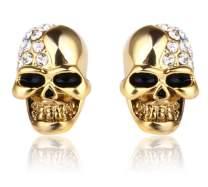 Stainless Steel Skull Studs Earrings Crystal Eye Skeleton Head Bone Stud Earrings for Men Women