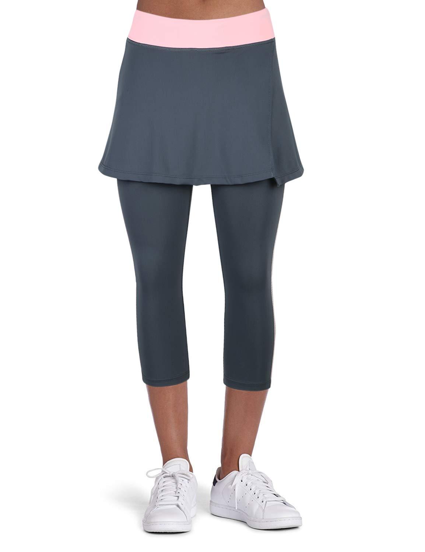 ANIVIVO Women Tennis Skirted Leggings with Pockets, Capris Yoga Leggings with Skirts& Women Tennis Clothing