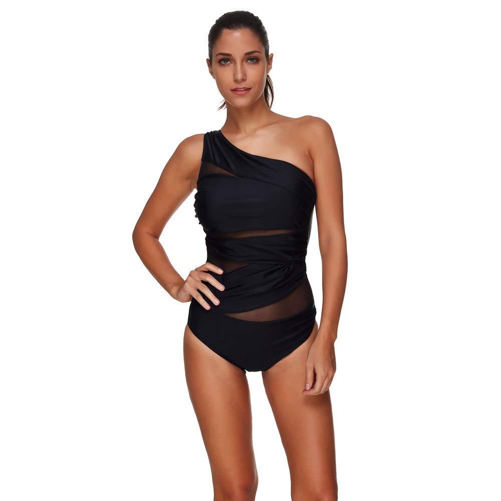 Qpladlse One Shoulder One Piece Swimwear for Women Bathing Suit Plus Size Swimsuit(S~3XL)