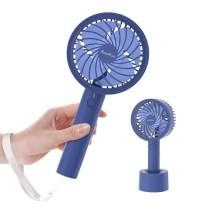 HandFan Handheld Turbine Fan 2600mAh Battery Operated, Rechargeable Portable Fan Personal Cooling Mute Fan with 22H Working Time/4 Speeds/4 Turbo Blades/Hand Strap for Office Travel Outdoors (Royal Blue)
