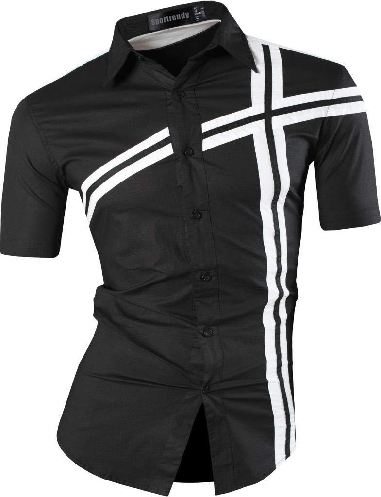 Sportrendy Men Casual Slim Fit Short Sleeve Button Down Dress Shirt JZS077 Black S
