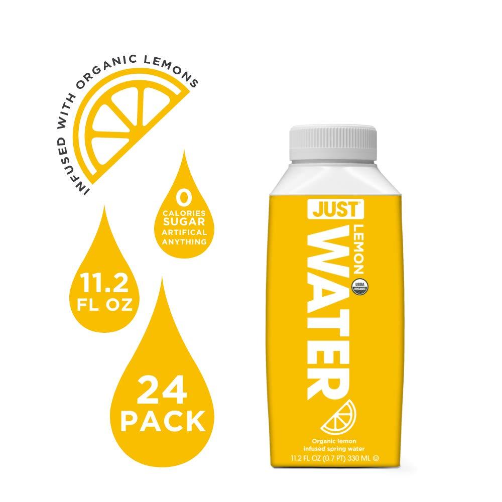 JUST Water Infused   Organic Fruit Flavored Spring Water   Eco-Friendly Boxed Bottled Water   Zero Sugar, Artificial Flavors, or Sweeteners, 8.0 Alkaline pH   Lemon, 11.2 oz, (Pack of 24)