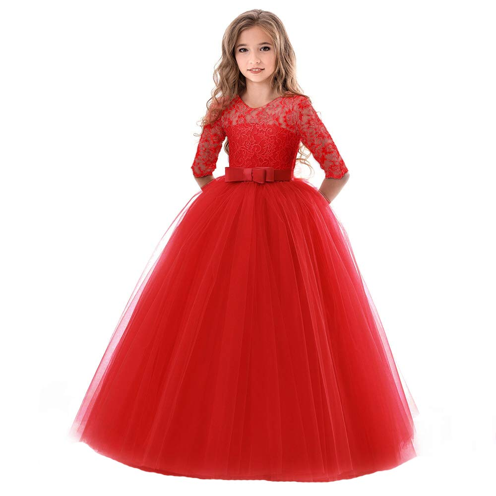 SOVIKER Girls Flower Party Dress Long Princess Gown Tulle Lace Wedding Evening Formal Pageant Dress-8547-Red-120